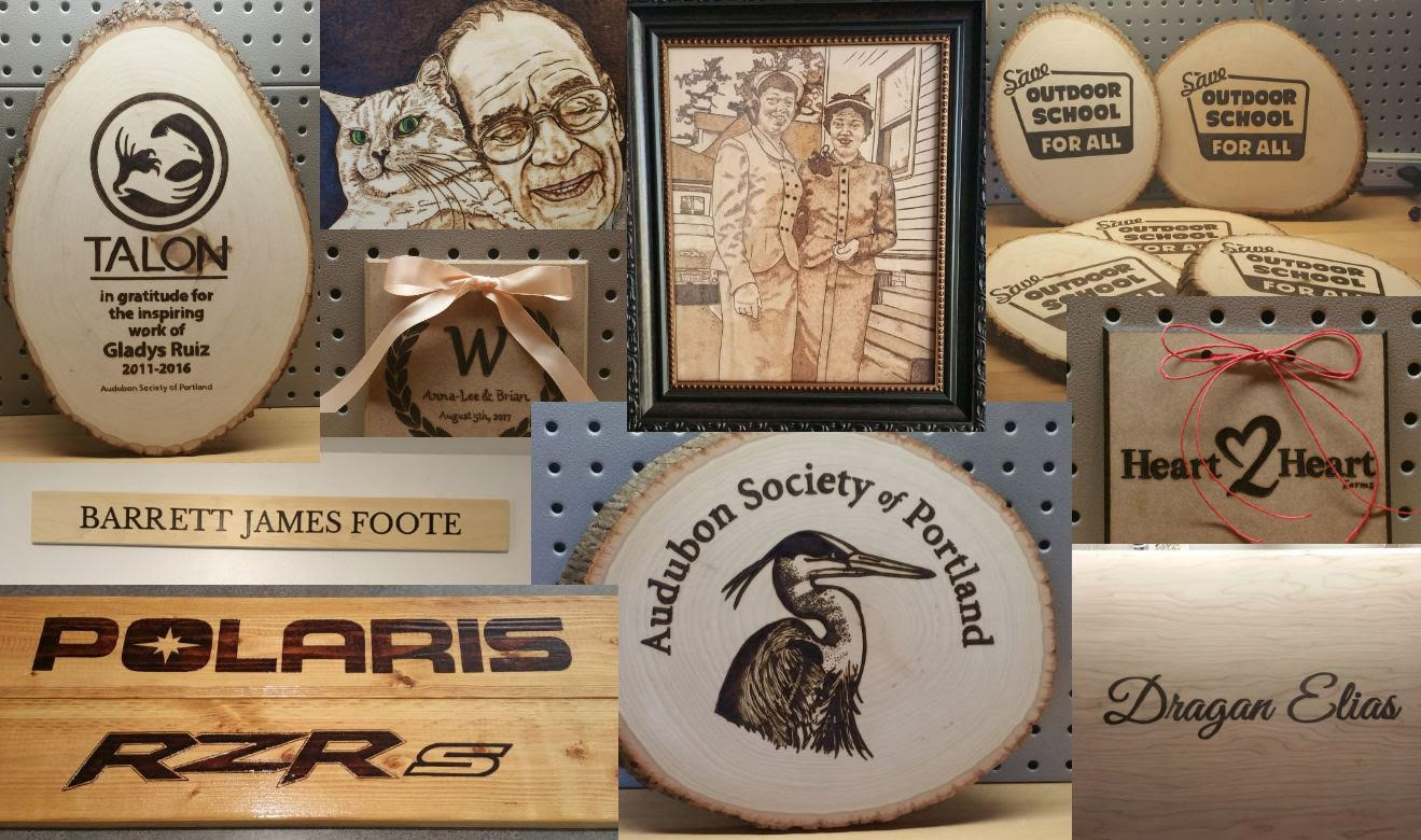 Portland Pyrography Business Collage
