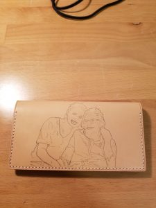 Art Transfer on Second and Final Vegetable Tanned Leather Wallet