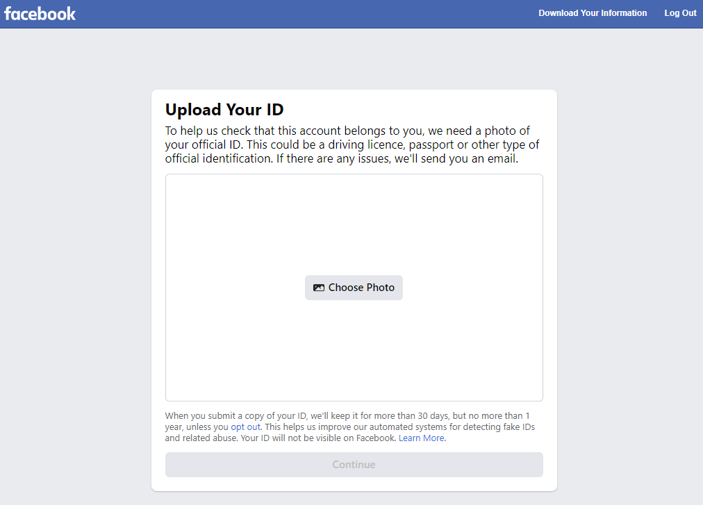 Upload Your ID Requirement
