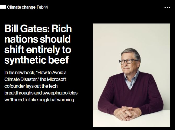 Bill Gates - Rich nations should shift entirely to synthetic beef